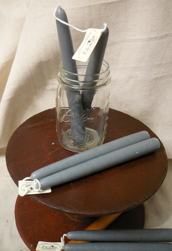 "SALE: Pair of Handmade Mole Hollow 8"" Taper Candles - Warm Slate Gray"