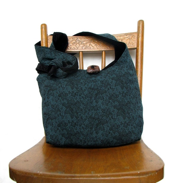 SLOUCH BAG Teal Hobo Bag Cross Body Bag Slouchy Hobo Bag Black Crossbody Bag Hobo Purse Hippie Bag Black Bag Teal Bag