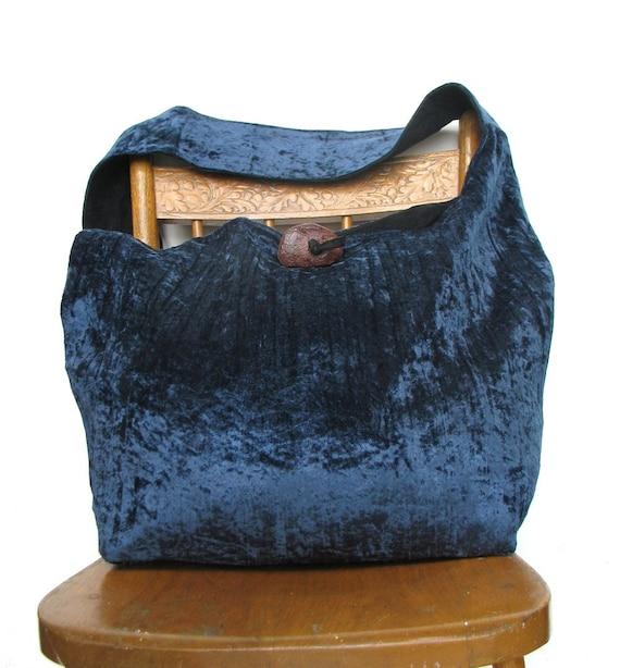 CROSS BODY BAG Hippie Bag Long Strap Diaper Bag Laptop Bag Vegan Bag Crossbody Bag Velour Bag Blue Bag Crossbody Hobo Bag