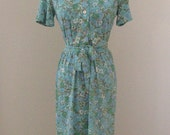 cute vintage blue and green floral dress, size small