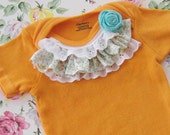 RESERVED LISTING sunshine orange hand dyed onesies, one plain and one with ruffles, lace, and a pretty little aqua rose