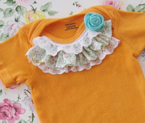 sunshine orange hand dyed onesie embellished with vintage fabric and lace, and a pretty little aqua rose, 6m to 9m, baby girl photos spring
