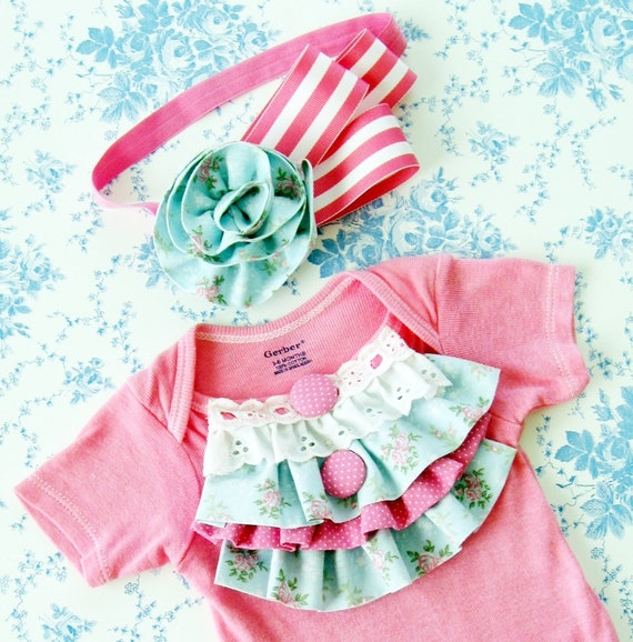 bubblegum pink vintage inspired hand dyed onesie with ruffles and lace and matching headband, 3m 6m 9m 12m 18m 24m baby girl photo prop