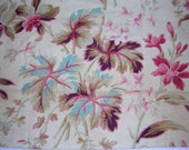 12 fragments Antique French Fabric Floral Tropical rose, burgundy, tan and blue floral