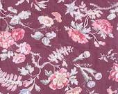 RESERVEDAntique French Reddish Brown fabric plus 2 deer/duck pcs