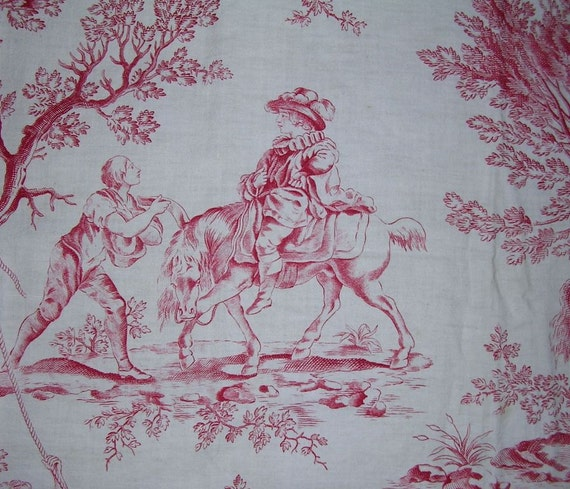 HOLD Vintage French Red White toile country scene ponies