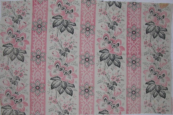 Antique French Fabric in Faded Black, Pink, White Floral 15 X 23""