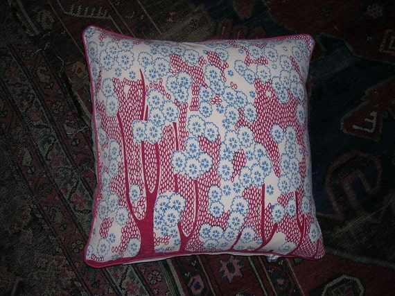 "Art Deco Indian Block Print Cotton Pillow Cover 20"" Sq"