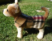 Dog Jacket -  Fleece Plaid Dog Coat- XX Small- 8 to 10 Inch Back Length - Or Custom Size