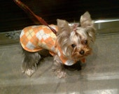Dog Jacket -  Orange Sorbet Argyle Fleece Dog Coat- Size XX Small- 8 to 10 Inch Back Length - Or Custom Size