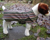 Dog Coat - Brown Olive and Tan Striped Corduroy Coat- Size Small- 12 to 14  Inch Back Length