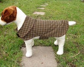 Dog Jacket -  Brown Corduroy Houndstooth Dog Coat- Size Small- 12-14 Inch Back Length