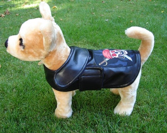 Dog Jacket -  Biker Dog Faux Leather Coat- Size XX Small- 8 Inch Only