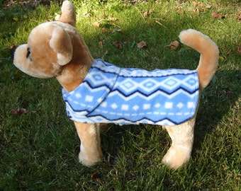 Dog Coat - Nordic Snowflake Fleece Dog Coat- Size XX Small- 8 to 10 Inch Back Length Only