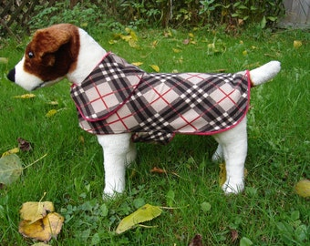 Dog Jacket -  Brown and Red Plaid Knit Fabric Dog Coat- Size Small- 12-14 Inch Back Length - Or Custom Size