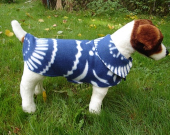 Dog Jacket -  Navy Blue and White Floral Fleece Dog Coat- Size Small- 12-14 Inch Back Length - Or Custom Size
