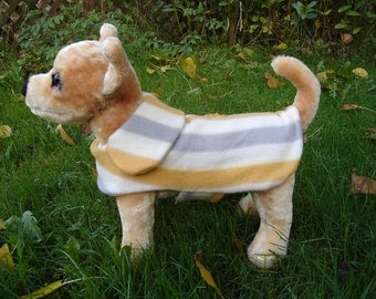 Dog Jacket - Grey Mustard and White Stripes Fleece Dog Coat- XX Small- 8 to 10 Inch Back Length - Or Custom Size