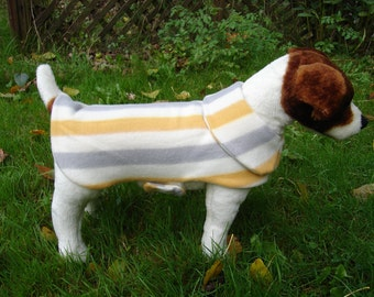 Dog Jacket - Grey Mustard and White Stripes Fleece Dog Coat- Small 12 to 14 Inch Back Length - Or Custom Size