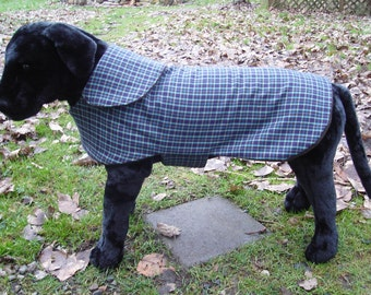 Dog Coat - Brown and Teal Plaid and Dog Coat - Size Large - Over 20 Inch Back Length