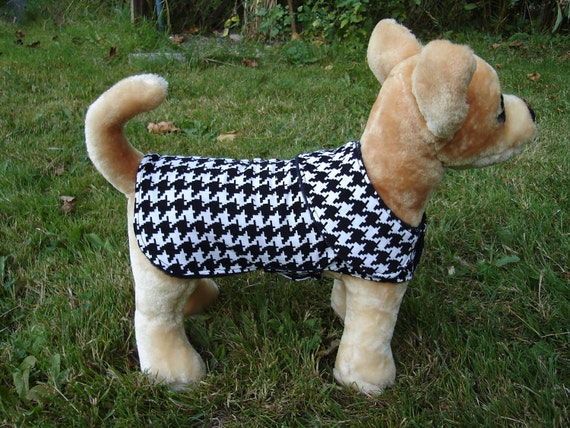 Custom Order for Jeanie-Black and White Houndstooth Corduroy Plaid Coat- Size XX Small- 8 to 10 Inch Back Length - Or Custom Size