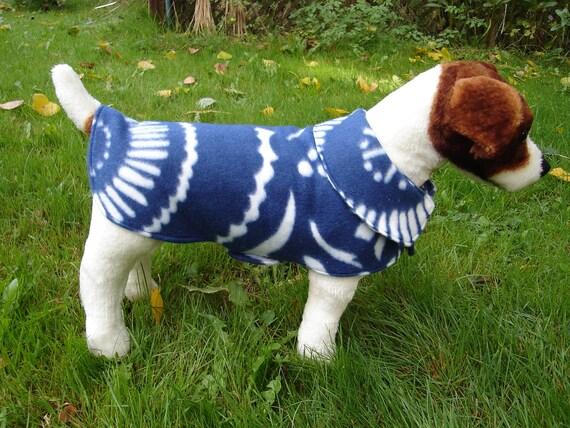 Dog Jacket -  Navy Blue and White Floral Fleece Dog Coat- Size Small- 12-14 Inch Back Length - Or Custom Size