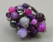 OUT OF TOWN - Purple Passion Cluster - Shell Hematite Stone Beaded Adjustable Ring - Hot Pink Fuchsia Magenta Eggplant Lilac Purple Gray