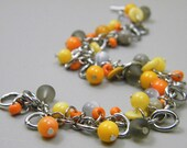 OUT OF TOWN - Citrus Stone Cluster Bracelet - Mother of Pearl Shell Sea Glass Bracelet - Orange Yellow Marigold Gray - Bright Warm Bracelet