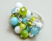 OUT OF TOWN - Pastel Blue Green Beaded Cluster Ring - Mother of Pearl Shell Stone Dolomite Marble Glass Fun Adjustable Cocktail Ring