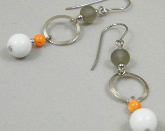OUT OF TOWN - Industry Standard - Matte Gray Orange White Silver Tone Dangle Earrings - Simple Modern Urban City Chic Earrings