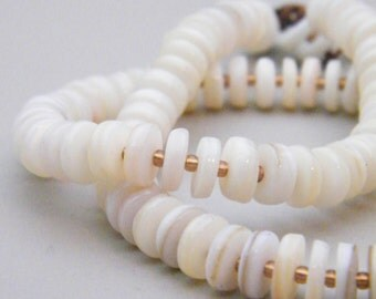 Cream Space - Mother of Pearl Shell Beaded Necklace - Neutral White Copper - Bohemian Chic Subtle Edgy Modern