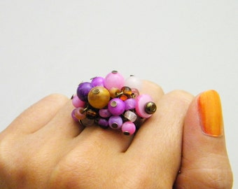 Sassy Pink Beaded Cluster Adjustable Ring - Rose Quartz Shell - Soft Pink Tan Magenta Fuchsia Bronze Brown - Bright Fun Ring