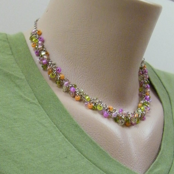 Tutti Frutti Cluster Necklace - Pink Peach Sherbet Orange Lime Spring Green Chartreuse Colorful Pastel Beaded Necklace