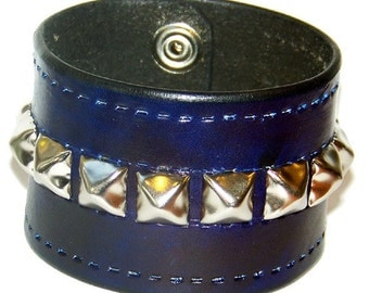Item 022510 Studded Leather Wrist Cuff 2 Inches Wide Hand Tooled