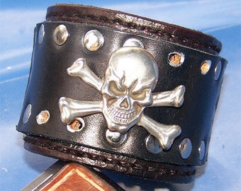 Item 072010 Black on Black Skull and Crossbones Leather Wrist Cuff
