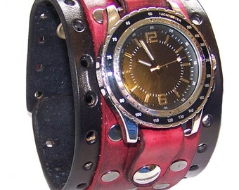 Item 051210 Leather Wrist Cuff Bracelet Red Black Steel Rivets 2.25 Inches Wide - (watch face not included)