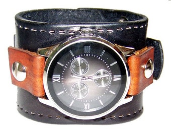 Item 122309 Brown and Black Leather Watch Cuff Wrist Cuff - (watch face not included)