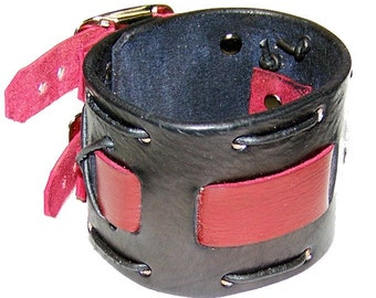 Item 101110 Black and Red Belted Leather Wrist Cuff
