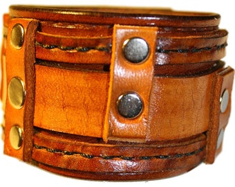 Item 100810 Hand Stitched Leather Wrist Cuff Bracelet Wristband