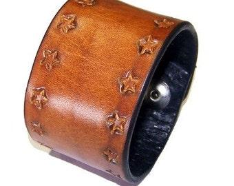 Item 120309 Deep Tan Leather Wrist Cuff Bracelet Wristband