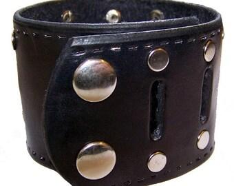 Item 123109 Hand Tooled Black Leather Wrist Cuff Bracelet Wristband