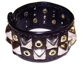Item 020211 Nickel and Brass Studded Leather Wrist Cuff Bracelet Wristband