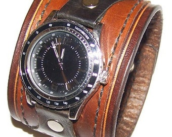 Item 021111 Strength Leather Watch Cuff - (watch face not included)