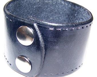 Item 021310 Simple Black Leather Wrist Cuff Bracelet Wristband