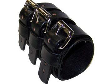 Zakk Wylde Style Tripple Belted Leather Gauntlet (040911)