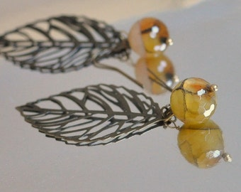 Fall Autumn Earrings - antique bronze lacy filigree leaves and natural agate gemstones nature inspired eco friendly jewelry