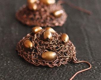 Earrings - crochet wire 3D earrings wearable art jewelry copper crocheted handwoven sculpture with freshwater pearls - Chocolate Cookies