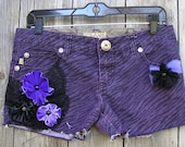 Purple and Black Tiger Stripe Short Shorts, Sz 9, Sugar Babies Short Shorts, Embellished, Distressed Shabby Chic Beach