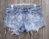 Distressed Short Shorts, - Bleach Babies - Destroyed Cut Offs, Bleached Two Tone Denim Jeans, Recycled by VintageDesignByVines