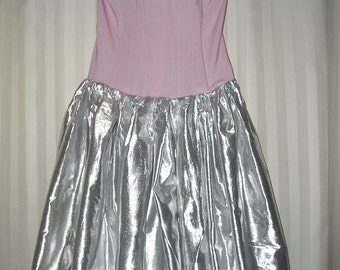 Pink and silver dress, corset, upcycled, Prom, Wedding, Romantic, Princess, Halloween,  Costume, handmade  VintageDesignByVines on Etsy