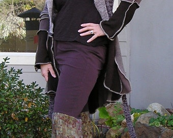 Reconstructed Wide Leg Pants, Womens, Hippie, Bohemian Bell Bottom Pants, Repurposed Clothing By VintageDesignByVines